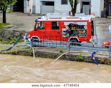 flood in 2013 in steyr, austria. floods and floods