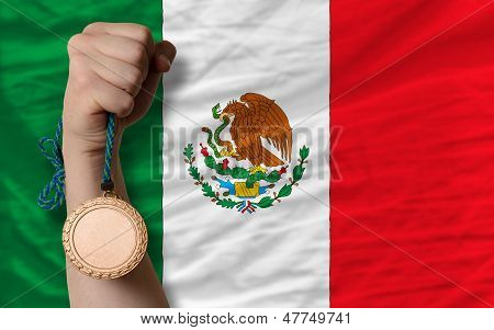 Bronze Medal For Sport And  National Flag Of Mexico