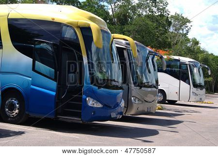 buses parked in car park/lot/parking lot