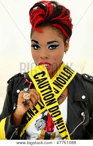 Sexy Black Woman Wrapped in Caution Tape, Do Not Enter
