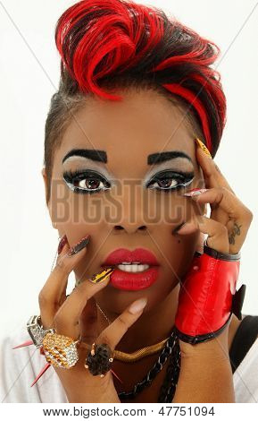 Beautiful Sexy Colorful Black Woman Face, Manicure, Designer Nails