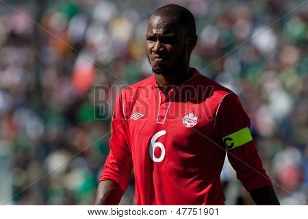 PASADENA, CA - JULY 7: Julian De Guzman reacts to a late winner by Martinique during the 2013 CONCACAF Gold Cup game between Canada and Martinique on July 7, 2013 at the Rose Bowl in Pasadena, Ca.