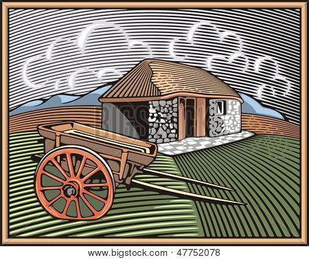 Vector illustration of a farm, surrounded by fields and mountains, done in retro woodcut style.