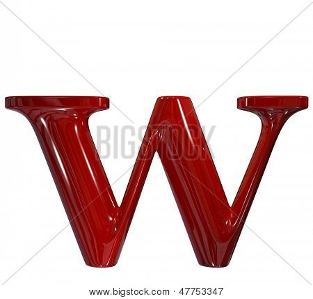 3d shiny red plastic ceramic letter collection - w