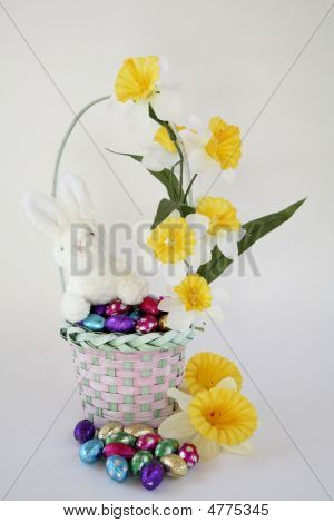 Easter Basket With Bunny On White