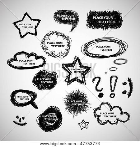Collection of Hand Drawn Speech And Thought Bubbles