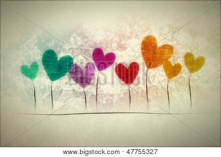 An image of a grunge background with hearts