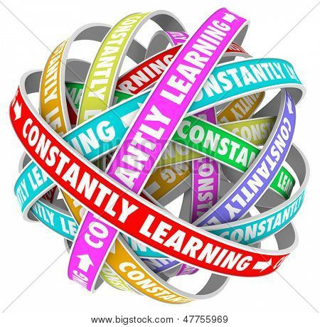 The words Constantly Learning on several colored loops going on for infinity to illustrate continuous growth, education and training to develop skills and improve