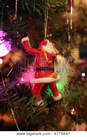 Santa Claus Ornament On Christmas Tree