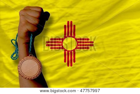 Bronze Medal For Sport And  Flag Of American State Of New Mexico