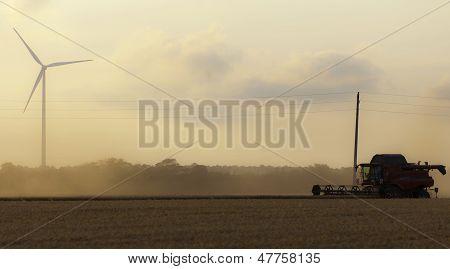 Combine Harvester Twilight Wind Generator