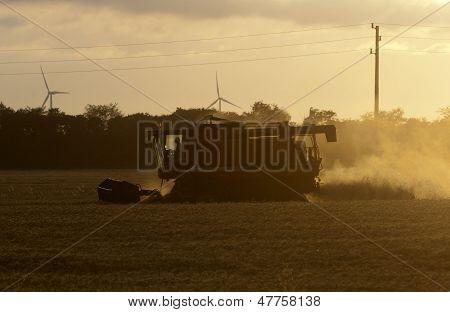 Combine Harvester Twilight Wind Generators