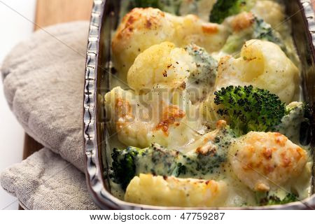 Gratin Of Cauliflower, Broccoli And Cheese