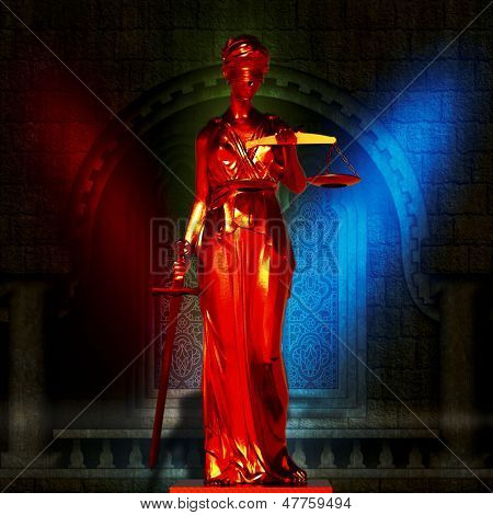 Lady of justice in court