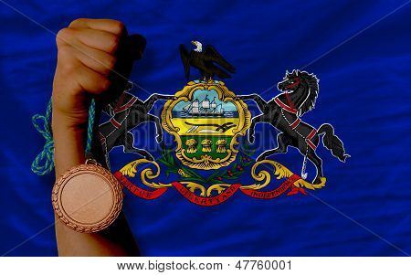 Bronze Medal For Sport And  Flag Of American State Of Pennsylvania