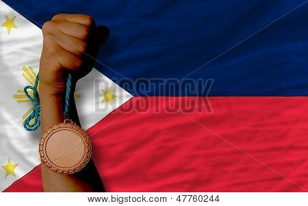 Bronze Medal For Sport And  National Flag Of Philippines