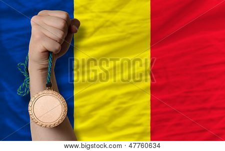 Bronze Medal For Sport And  National Flag Of Romania