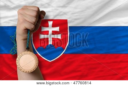 Bronze Medal For Sport And  National Flag Of Slovakia