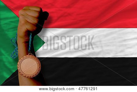 Bronze Medal For Sport And  National Flag Of Sudan