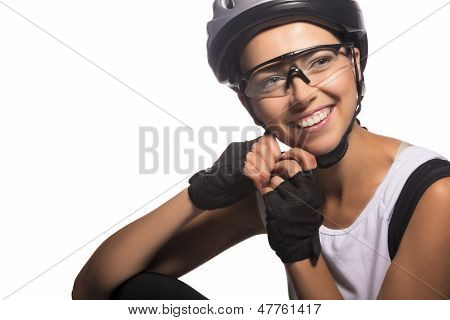 Isolated Image Of A Smiling Caucasian Female Cycling Athlete