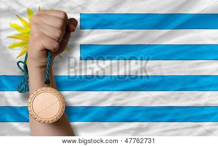 Bronze Medal For Sport And  National Flag Of Uruguay