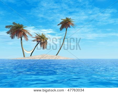 High resolution concept or conceptual isolated exotic island with palm trees with a hammock and sand in the sea or ocean over blue sky background with white clouds