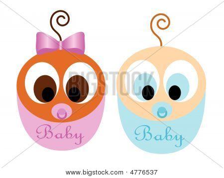 Cute Interracial Babies Vector