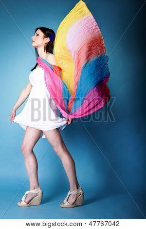 Pretty Summer Woman With Flying Shawl