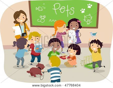 Illustration of Stickman Kids with their Pets in Classroom