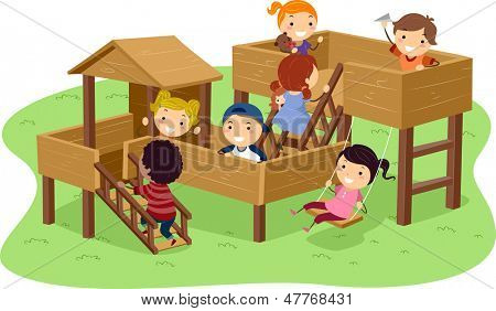 Illustration of Stickman Kids Playing in the Park