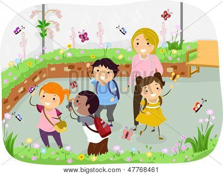 Illustration of Stickman Kids in a School Trip at Butterfly Garden