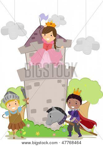 Abbildung Stickman-Kinder, die spielen Kight, Prinz und Prinzessin im Schulaufführung