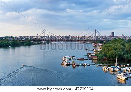 Panorama of Belgrade downtown, a view from Sava river