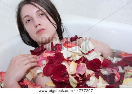 Beautiful Girl In Rose-leaf