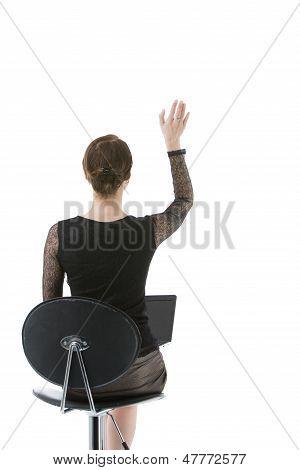 Businesswoman Waving Her Hand
