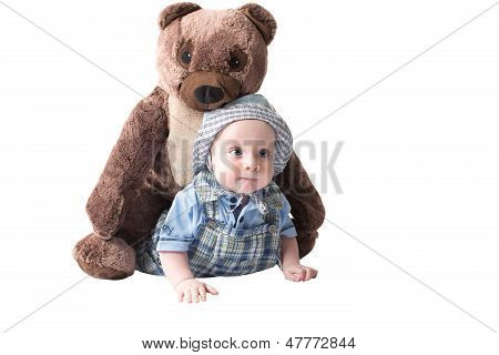 Adorable Child Boy With plush Toy Teddy Bea Isolated On White Background