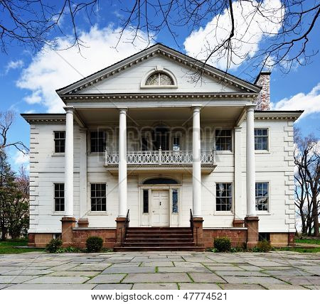 The historic Morris-Jumel Mansion in Washington Heights, New York, New York, USA.  George Washington used the mansion as his temporary headquarters during the Revolutionary War.