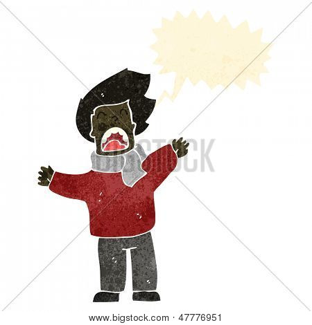 retro cartoon man in windy weather