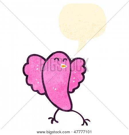 retro cartoon tweeting pink bird