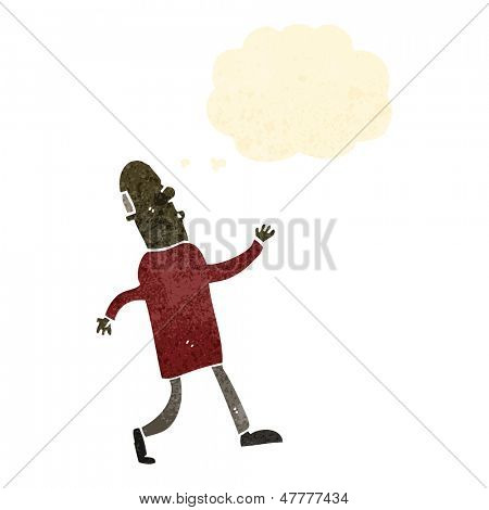 retro cartoon strutting bald man