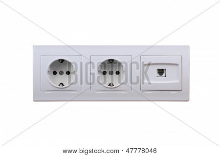 Electric And Internet Outlets On Wall