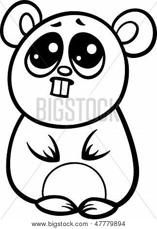 Cartoon Kawaii Hamster Coloring Page