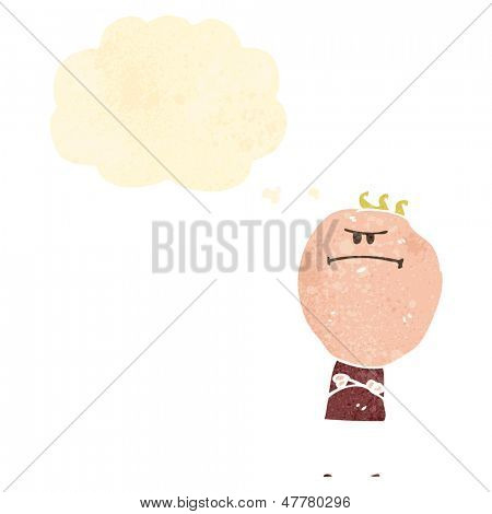 retro cartoon annoyed boy