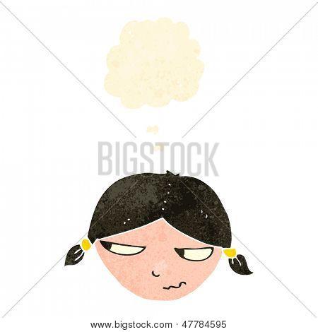 retro cartoon annoyed girl