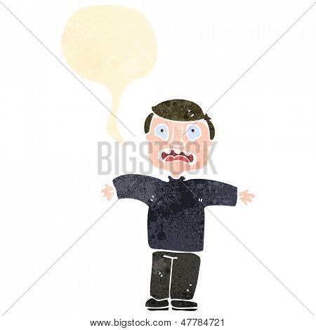 retro cartoon terrified man