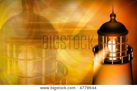 Light House With Yellow Light