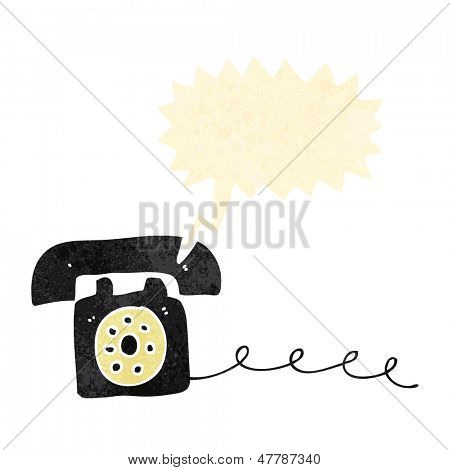 retro cartoon ringing telephone
