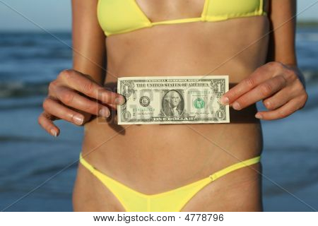 Girl Showing One Dollar