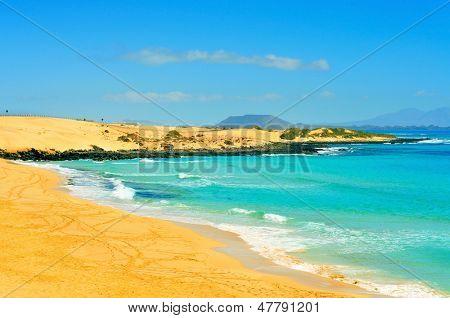 Las Alzadas Beach in Natural Park of Dunes of Corralejo in Fuerteventura, Canary Islands, Spain