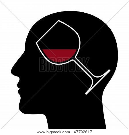 Silhouette Of Head With Red Wine Glass